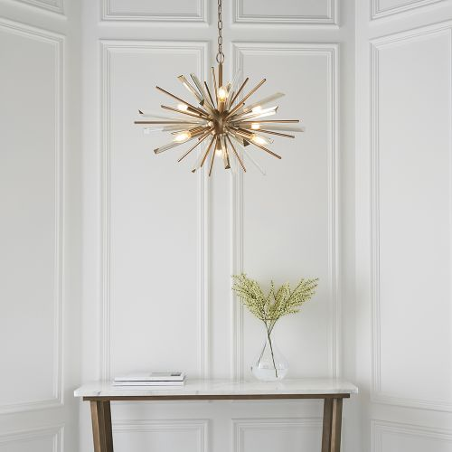 Ceiling Pendant 6 Light Fitting Champagne And Antique Brass Genoa REG/505019