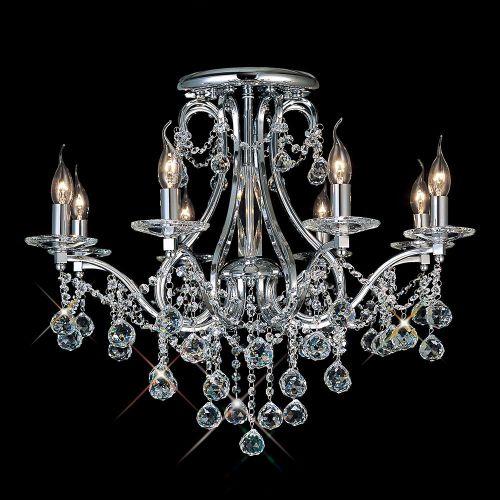 Diyas IL30118 Bianco Ceiling 8 Light Polished Chrome Crystal Chandelier