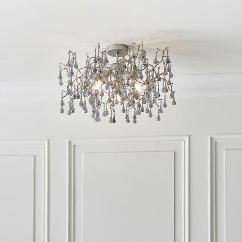 Semi-Flush Ceiling Pendant 3 Light Aged Silver Turin REG/505035