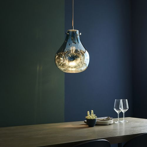 Glass Ceiling Pendant Light Fitting Blue Metallic Glass Valletta REG/505062