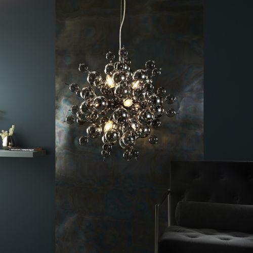 Ceiling Pendant 9 Light Tinted Glass Spheres Black Chrome Rome REG/505008