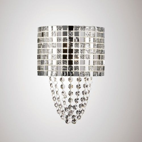 Diyas IL31620 Camden Wall Lamp 2 Light G9 Polished Chrome Mosaic Glass Crystal