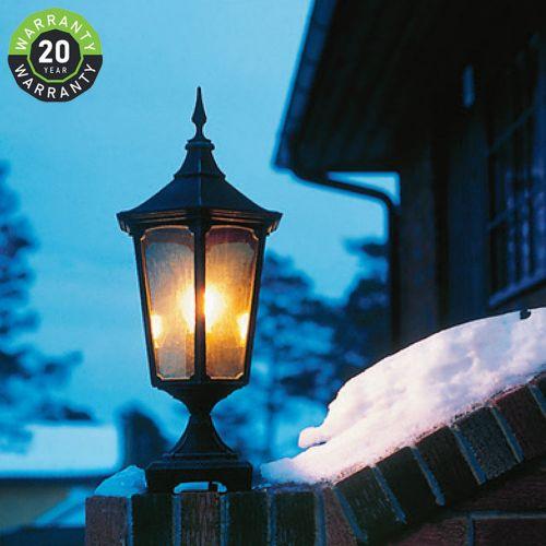 Noral Cardinal D2 Outdoor Pedestal Lantern Black NOR/7102122 20 Year Warranty