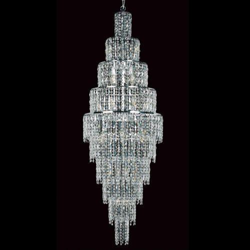 Impex CB03220/24/CH New York 24 Light Czech Crystal Long Ceiling Chandelier Chrome