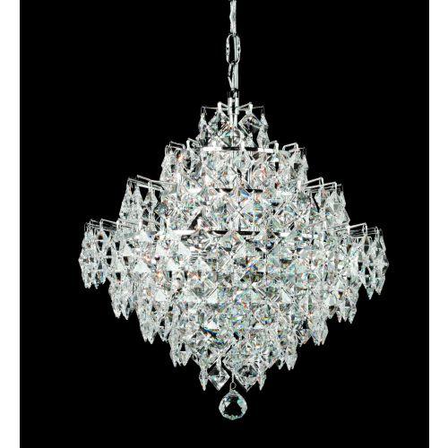 Impex CF01081/12/CH Diamond Crystal 12 Light Chandelier Chrome Frame