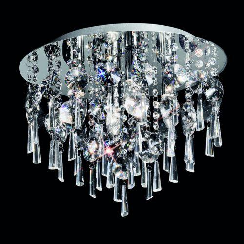 Flush Ceiling Fitting Polished Chrome Crystal Drops Marsalis LEK60048