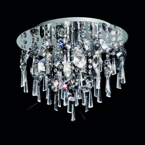 Bathroom Circular Flush Ceiling Fitting With Crystal Glass Drops LEK60051