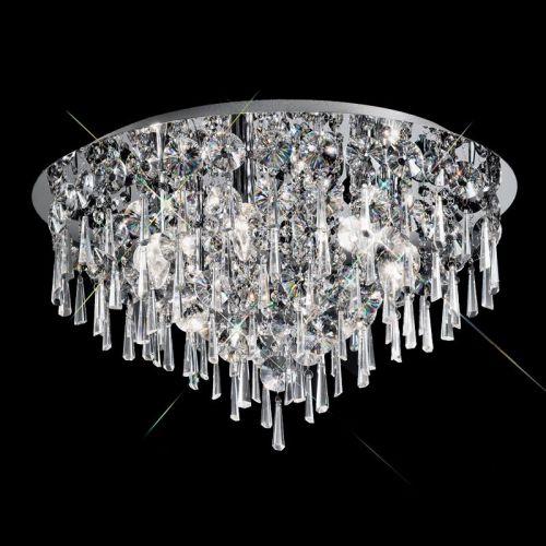 Bathroom Circular Flush Ceiling Fitting With Crystal Glass Drops LEK60052
