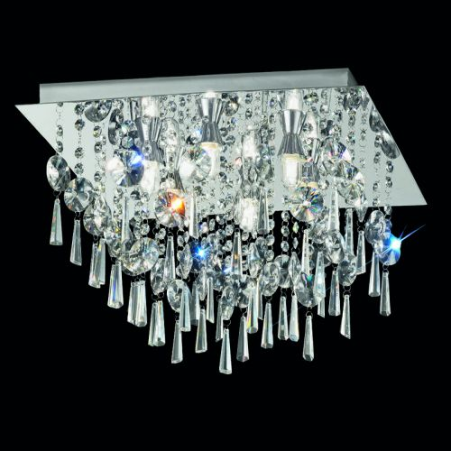 Bathroom Flush Ceiling Fitting With Crystal Glass Drops LEK60054