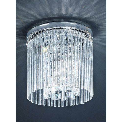 Flush Bathroom Ceiling Fitting Glass Rods Crystal Drops Polished Chrome LEK60058