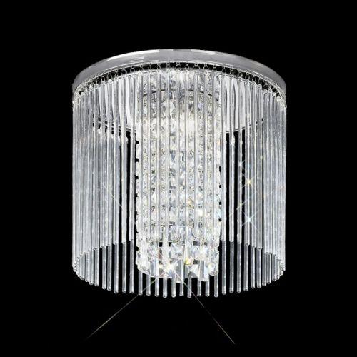 Flush Bathroom Ceiling Fitting Decorative Crystal Glass Polished Chrome LEK60059