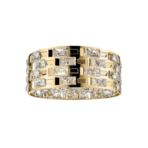 Impex CFH1811/05/PL/G Lola Crystal 5 Light Flush Ceiling Fitting Gold