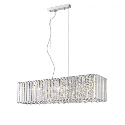 Impex CFH1925/07/OBL/CH Diore Diore 7 Light Crystal Oblong Bar Pendant Chrome