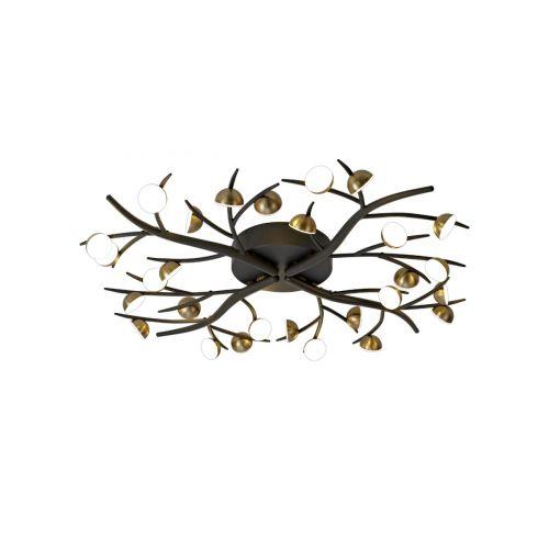 Semi-Flush Ceiling 28 Light Black/Antique Brass Chic LEK3306