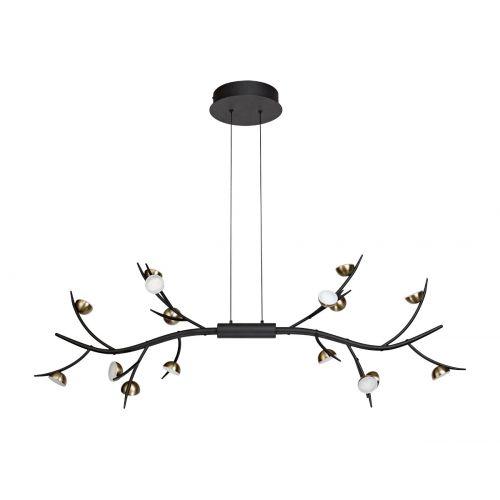 Linear Pendant 16 Light LED Black/Antique Brass Chic LEK3307