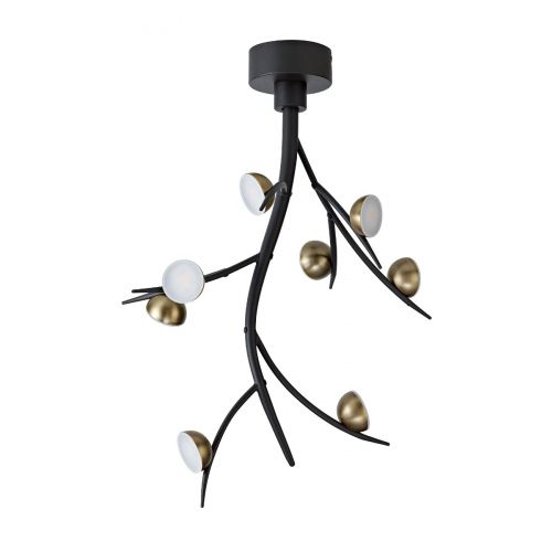 Ceiling Pendant 8 Light LED Black/Antique Brass Chic LEK3308