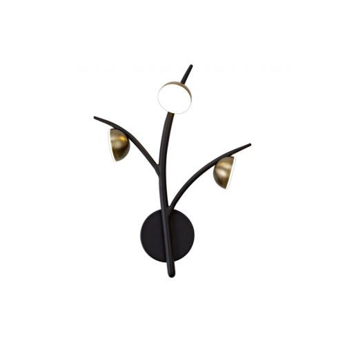 Wall Lamp 3 Light LED Black/Antique Brass Chic LEK3309