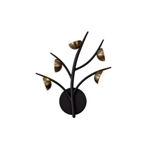 Wall Lamp 5 Light LED Black/Antique Brass Chic LEK3310