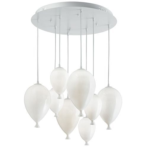 Ideal Lux 100883 Clown 8 Lt White Cluster Pendant Glass Balloon Shade