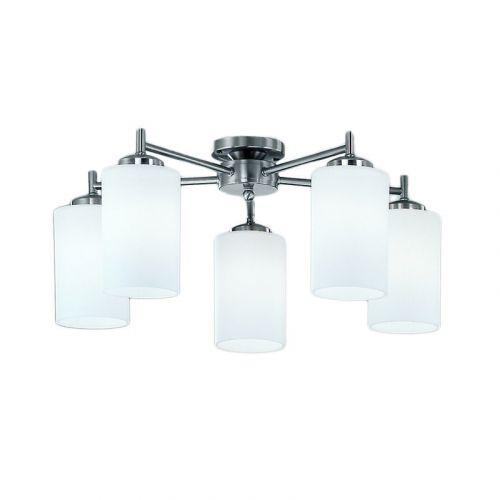 Semi-Flush 5 Light Ceiling Fitting Matt Nickel Nona LEK60172