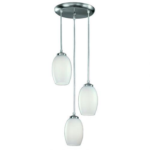 Ceiling Pendant 3 Light Fitting Satin Nickel Pendula LEK60174