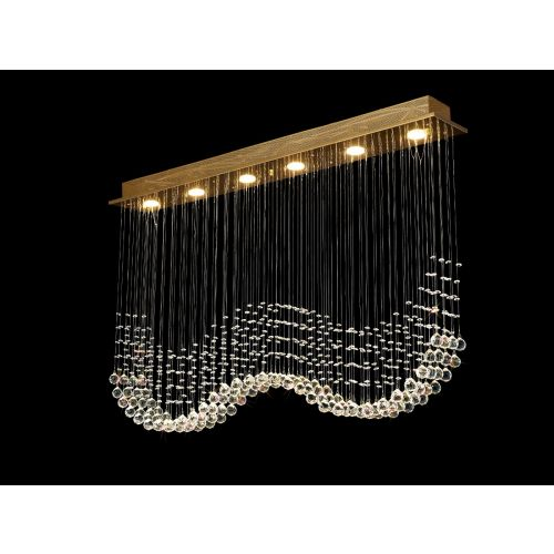 Diyas Colorado 6 Light Rectangular Pendant French Gold/Crystal IL31382