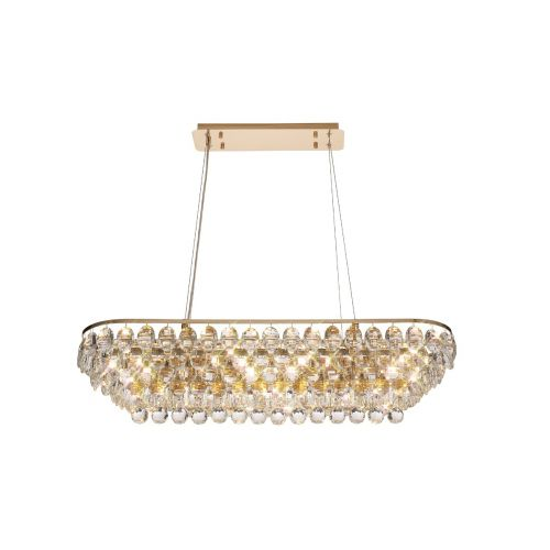 Diyas Coniston Linear Bar Pendant 8 Light French Gold/Crystal DIY/IL32821