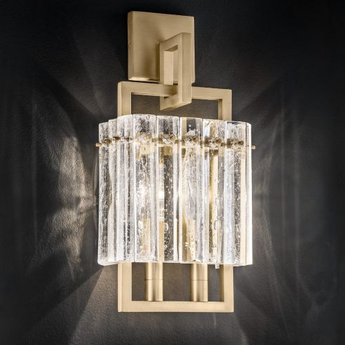 Masiero Crek Twin Wall Light 2 x E14 Brushed Brass CREK-A2-G18