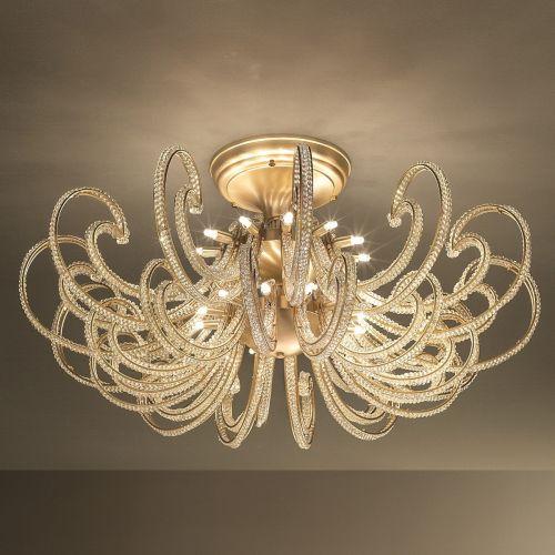 Masiero Cristalis Ceiling Large 110cm Semi Flush 24 x G9 Brushed Brass CRISTALIS-PL24-G18