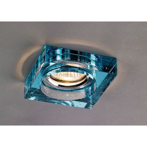 Diyas IL30832AQ Crystal Bubble Recessed Downlight Square Rim Only Aqua