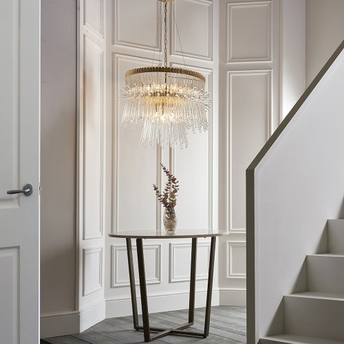 Large Ceiling Pendant 9 Light Clear Glass Rod Polished Gold Girona REG/505069
