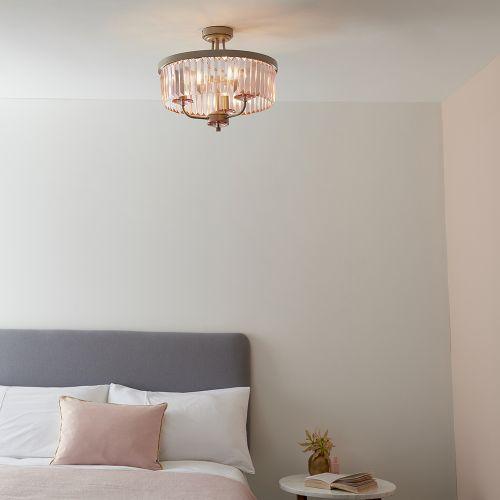 Semi-Flush Ceiling Pendant 3 Light Rose Pink Champagne Nickel Samara REG/505071