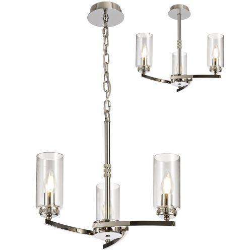 Semi Flush/Pendant Ceiling Light Fitting Nickel Lekki Dyani LEK3085