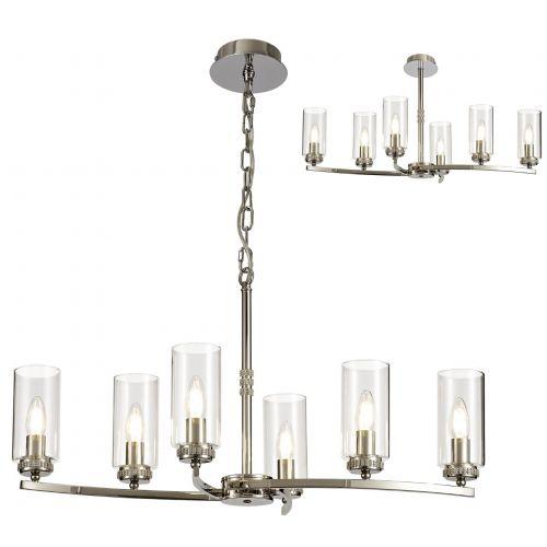 Semi Flush/Pendant Ceiling Light Fitting Nickel Lekki Dyani LEK3087