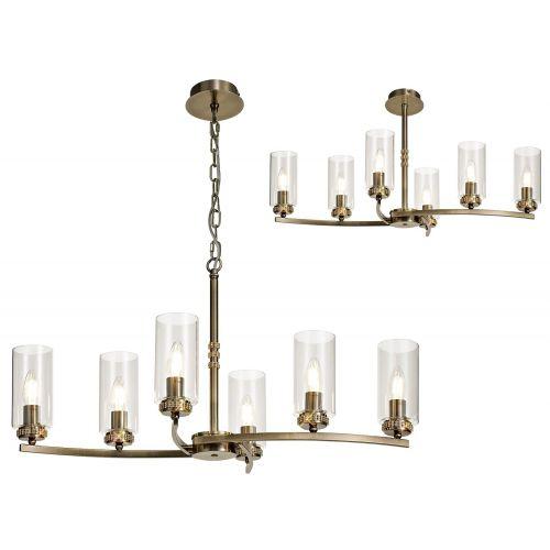 Semi Flush/Pendant Ceiling 6 Light Fitting Antique Brass Lekki Dyani LEK3097
