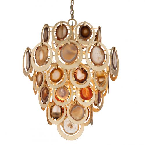 Large Pendant Ceiling 10 Light Gold Leaf Corbett Rockstar 190-410-CE