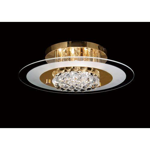 Diyas IL32022 Delmar Crystal 6 Light Round Flush Ceiling Fitting French Gold Frame