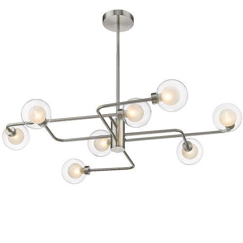 Semi Flush 8 Light Fitting Satin Nickel Lekki Molly LEK7196