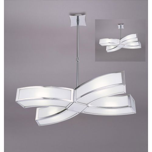 Mantra M0404 Duna E27 Pendant 4 Light E27 Polished Chrome White Acrylic