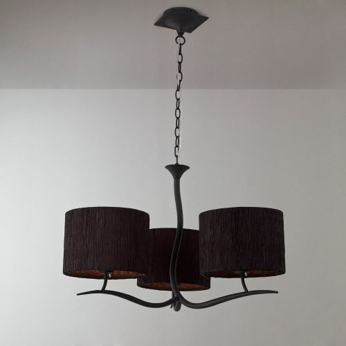 Mantra M1151 BS Eve Pendant Fiting 3 Light E27 Anthracite Black Round Shades