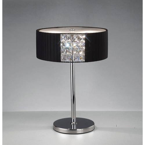 Diyas Evelyn Black Shade Table Lamp With Crystal Decoration IL31170/BL Polished Chrome