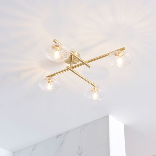 Semi-Flush 4 Light Bathroom Fitting IP44 Clear Glass Shades Brushed Gold Mobias REG/505174