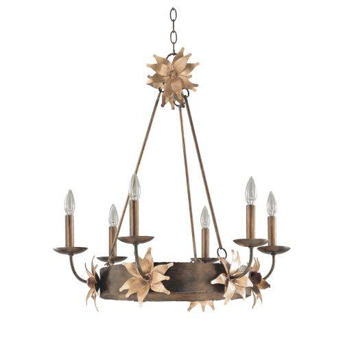 Flambeau FB/SIMONE6 Simone Earthen Ceiling Fitting Gilded Blossoms