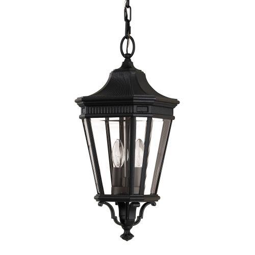 Feiss Cotswold Lane Outdoor Lantern Medium Chain FE/COTSLN8/M BK Black Die-Cast Aluminium