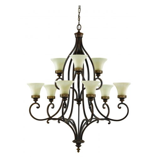 Feiss FE/Drawing RM9 Drawing Room 9Lt Walnut Ceiling Chandelier