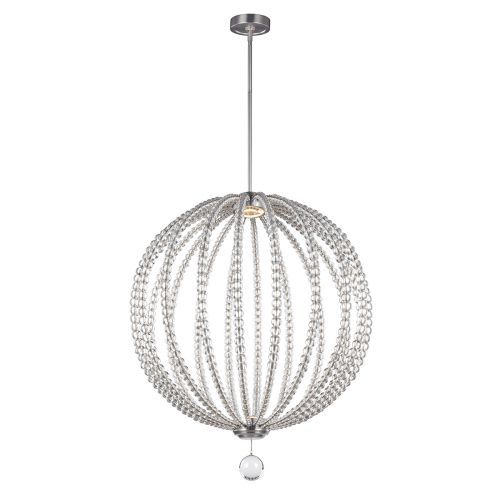Feiss FE/OBERLIN/P/L Large LED Clear Satin Nickel Pendant