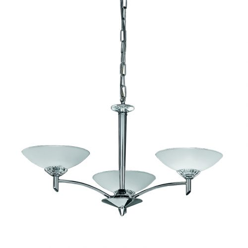 Multi-Arm Ceiling Fitting 3 Light Chrome with Opal Shades Sizzle LEK60235