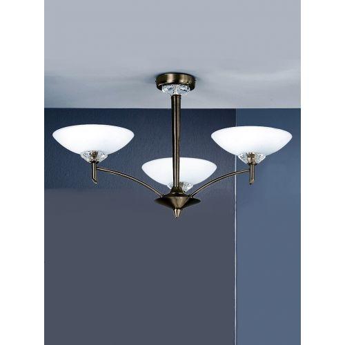 Multi-Arm Ceiling Fitting 3 Light Bronze Opal Shades Sizzle LEK60239