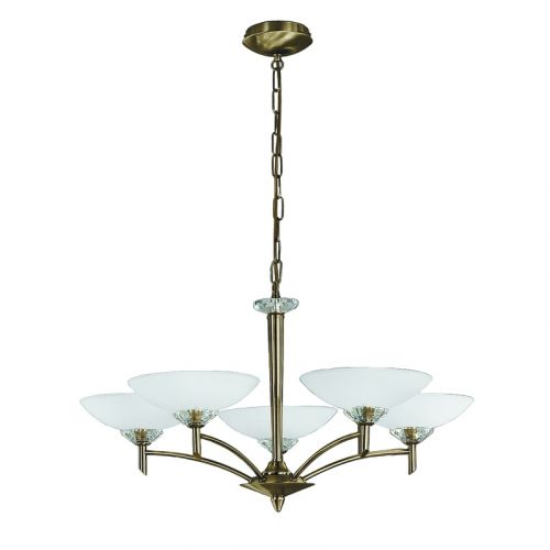 Multi-Arm Ceiling Fitting 5 Light Bronze Opal Glass Shades Sizzle LEK60240