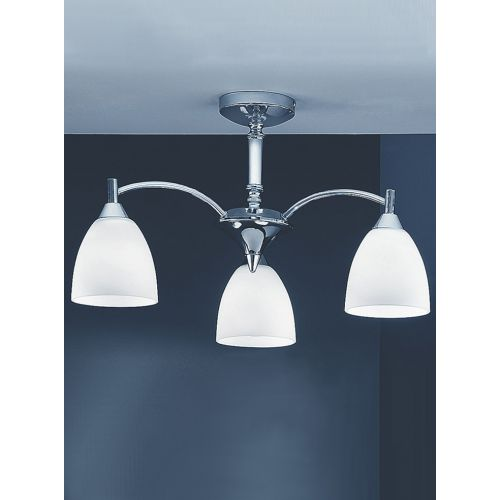 Semi-Flush 3 Light Ceiling Fitting Chrome Alabaster Shade Harriet LEK60252